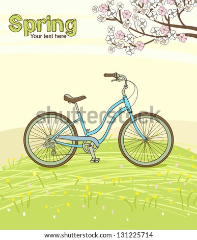Vintage bicycle on the spring meadow - stock photo