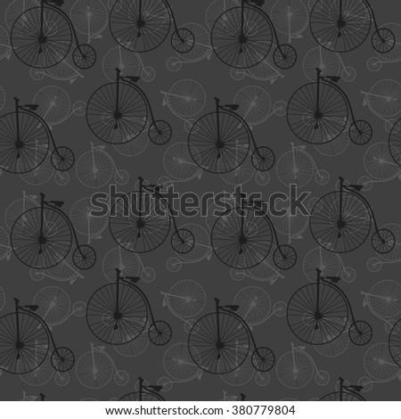 vintage bicycle pattern - stock photo