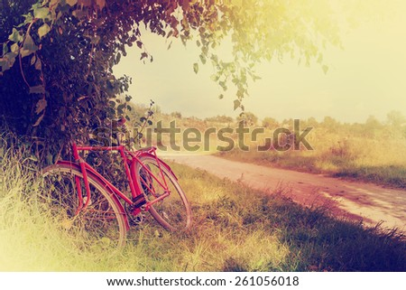 Vintage bicycle waiting near tree .