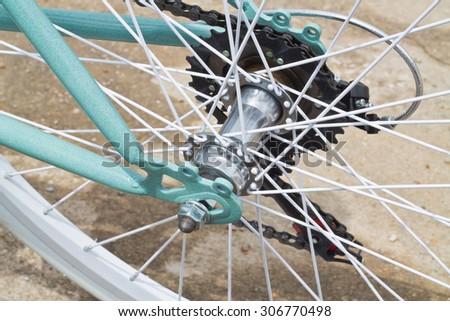 Vintage Bicycle Wheel - stock photo