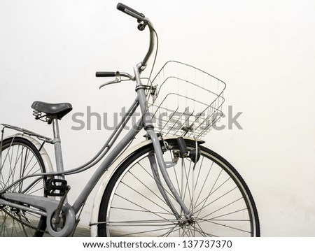 vintage bicycle white background - stock photo