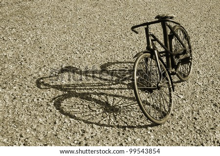 Vintage Bicycle with shadow - stock photo