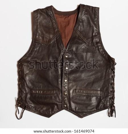 Vintage biker man's leather waistcoat on a white background - stock photo