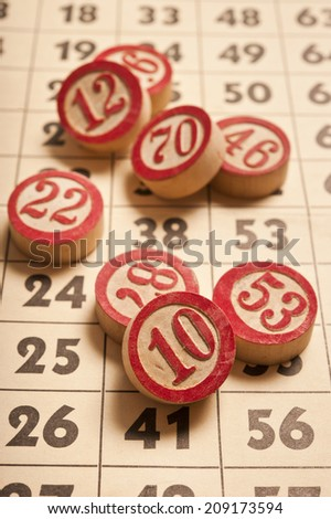 vintage bingo numbers and card - stock photo
