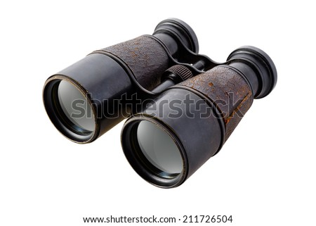Vintage binoculars isolated on white background - stock photo