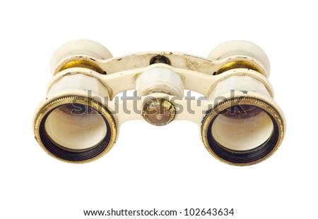 Vintage binoculars on white background - stock photo