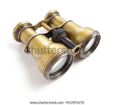 Vintage binoculars on white background - stock photo
