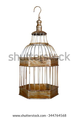 vintage bird cage isolated on white background - stock photo