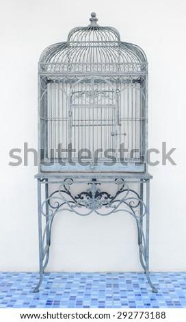 Vintage birdcage isolated  - stock photo