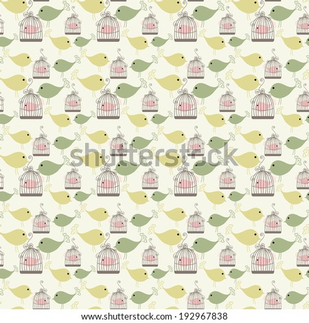 Vintage birds and birdcages collection. Seamless pattern. Wallpaper. - stock photo