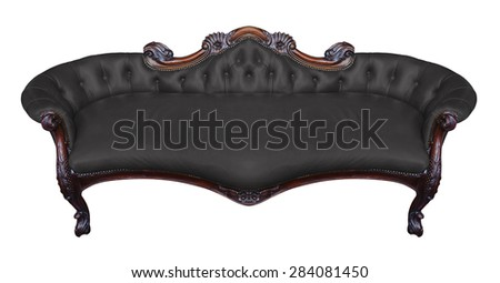 Vintage black armchair on white - stock photo