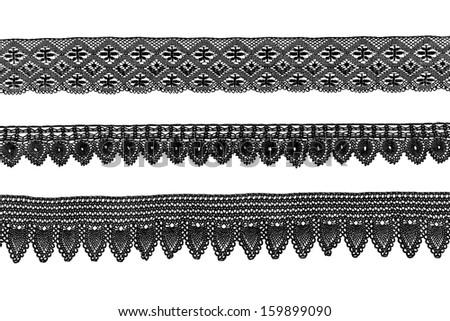 vintage black bobbin lace borders - stock photo