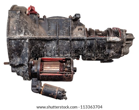 Vintage black car gearbox isolated on white with partly opened body - stock photo