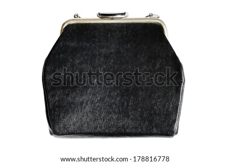 Vintage black handbag - stock photo