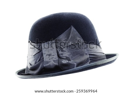 Vintage black hat with a bow  isolated on white background - stock photo