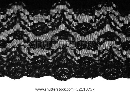 vintage black lace on white background - stock photo