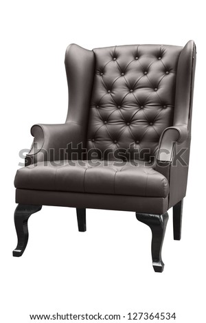 vintage black leather armchair isolated on white. - stock photo