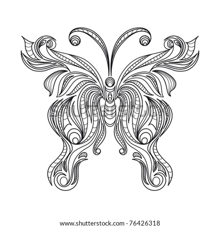 Vintage black ornament isolated on white background (raster version). As sign, symbol, tattoo, web, label, logo, emblem. - stock photo