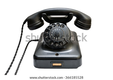 vintage black phone isolated over white background