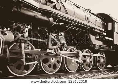 Vintage black steam locomotive - stock photo