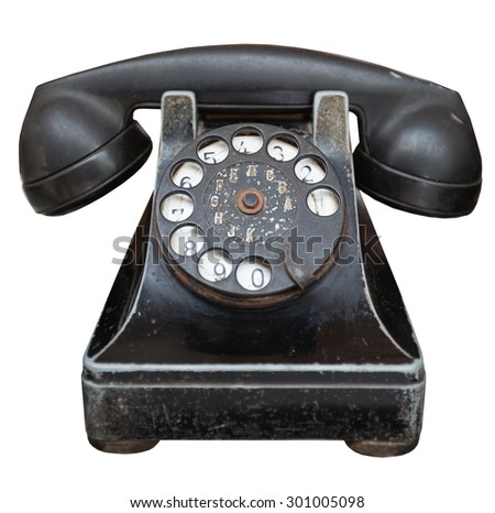 vintage black telephone isolated on a white background