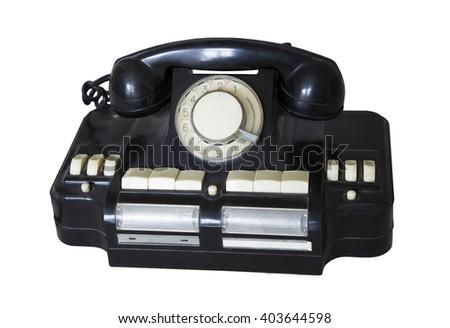 Vintage black telephone isolated on white background - stock photo