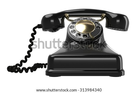 Vintage black telephone isolated on white. Retro 1940 - 1950 phone with rotary dial.