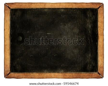 Vintage blackboard isolated on white - stock photo