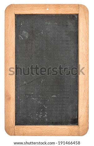 vintage blackboard with wooden frame isolated on white background. chalkboard with place for your text