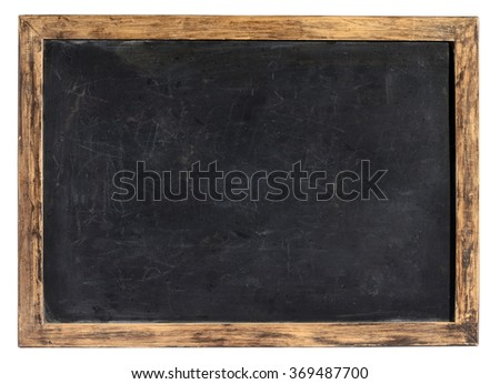 Vintage blank blackboard or school slate used by children during class and for homework with a weathered wooden frame isolated on white