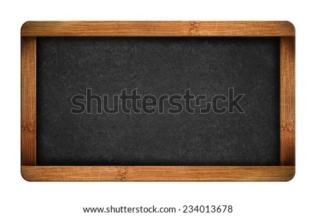 Vintage blank chalkboard slate isolated on white background - stock photo