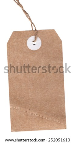 Vintage blank label with string isolated on the white background