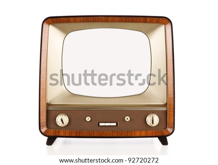Vintage blank television with clipping path for the screen - stock photo