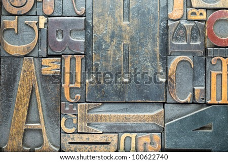 Vintage Block Letters from Printing Press filling entire frame edge to edge - stock photo