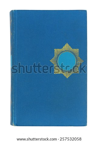 Vintage blue and gold book cover isolated on white background - stock photo