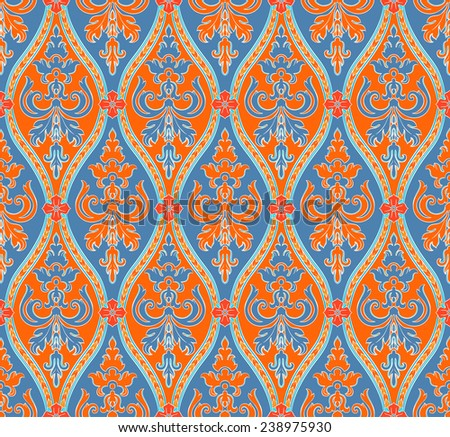 vintage blue and orange seamless pattern with red flowers  - stock photo