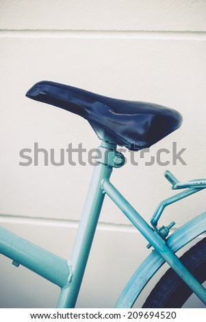 Vintage blue bicycle.