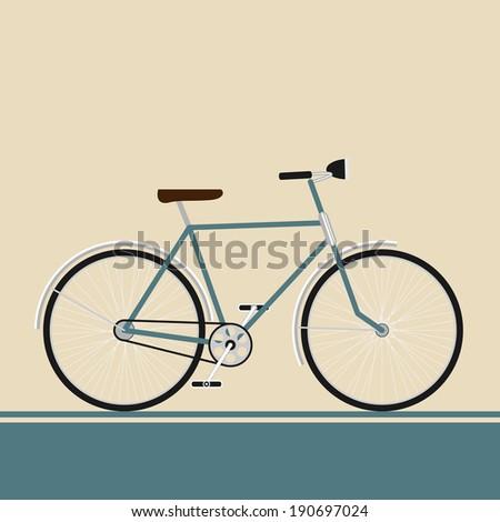 Vintage blue bike on modern style background style isolated. Rasterized vector illustration - stock photo