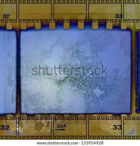 vintage blue film strip frame - stock photo