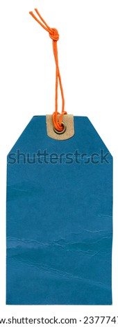 Vintage blue label on isolated white background. - stock photo
