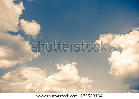Vintage Blue sky with clouds and sun for background in bangkok, Thailand - stock photo