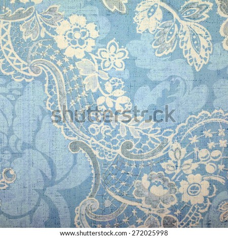 Vintage blue wallpaper with vignette victorian pattern - stock photo