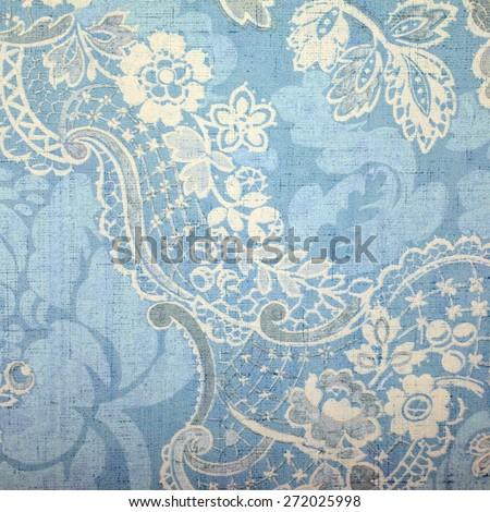 Vintage blue wallpaper with vignette victorian pattern - stock photo