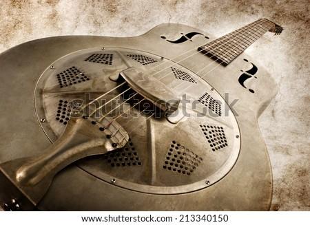 vintage blues guitar vintage style image - stock photo