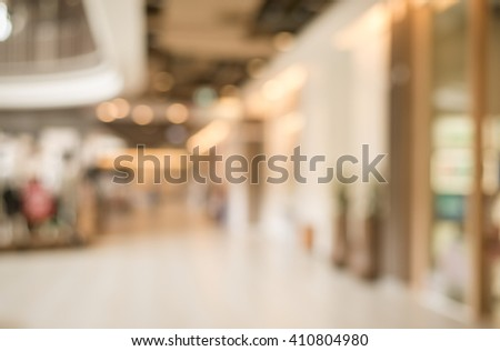 Vintage Blurred background  with bokeh in Shopping mall .