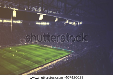 vintage blurred football stadium - stock photo