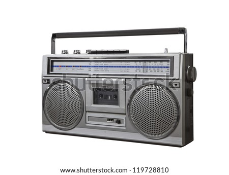 Vintage bom box portable stereo isolated with clipping path. - stock photo