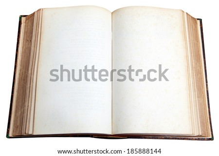 Vintage book, open, isolated on white - stock photo