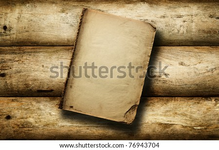 Vintage book open on old wooden