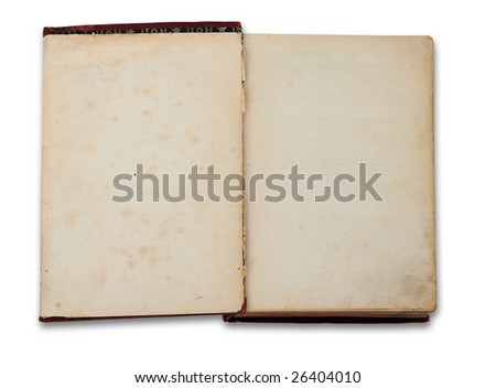 Vintage book with blank pages isolated on white background with clipping path